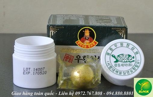 Hình ảnh và quy cách sản phẩm An Cung Ngưu Hoàng hoàn Hàn Quốc hộp xanh
