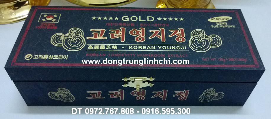 Hình ảnh hộp gỗ đen cao Linh Chi Hàn Quốc