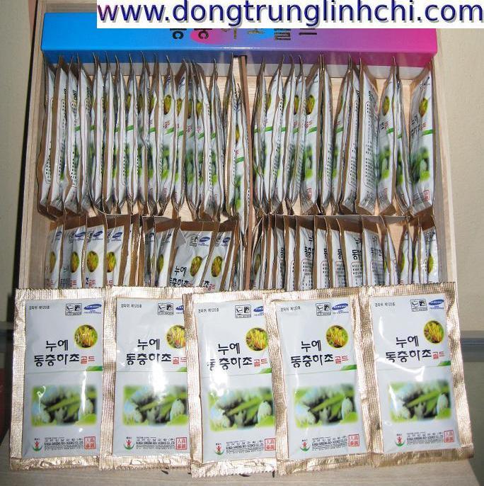 dong trung ha thao- Đông trùng hạ thảo Hàn Quốc dạng nước hộp gỗ 60 gói- hàng nội địa 2 tem-h2