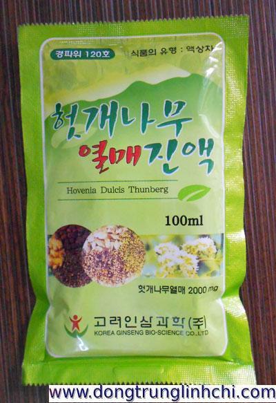 Mặt trước túi-gói nước mát gan- giải rượu- bổ gan Hovenia-Hàn Quốc