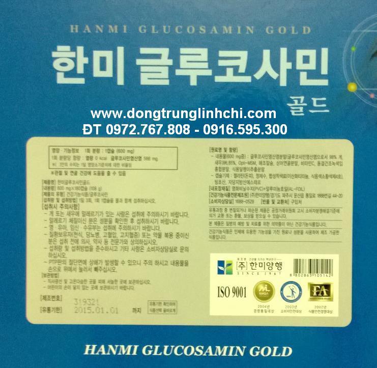 hộp glucosamine 600mg x180 viên Hàn Quốc- Hanmi Glucosamin Gold